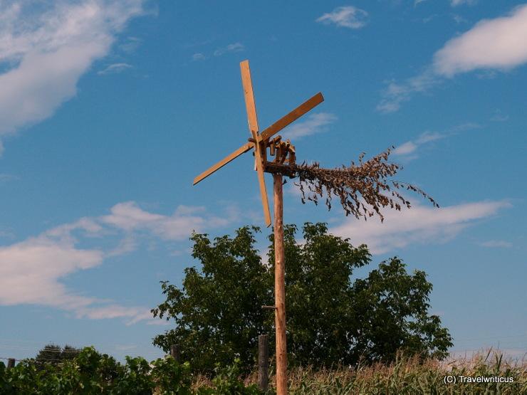 A traditional bird scarer named Klopotec, seen at a vineyard in Prekmurje, Slovenia