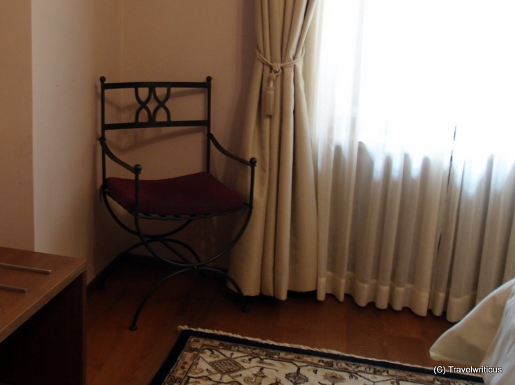 Ancient-like chair at the Roman suite of Hotel Mitra in Ptuj, Slovenia