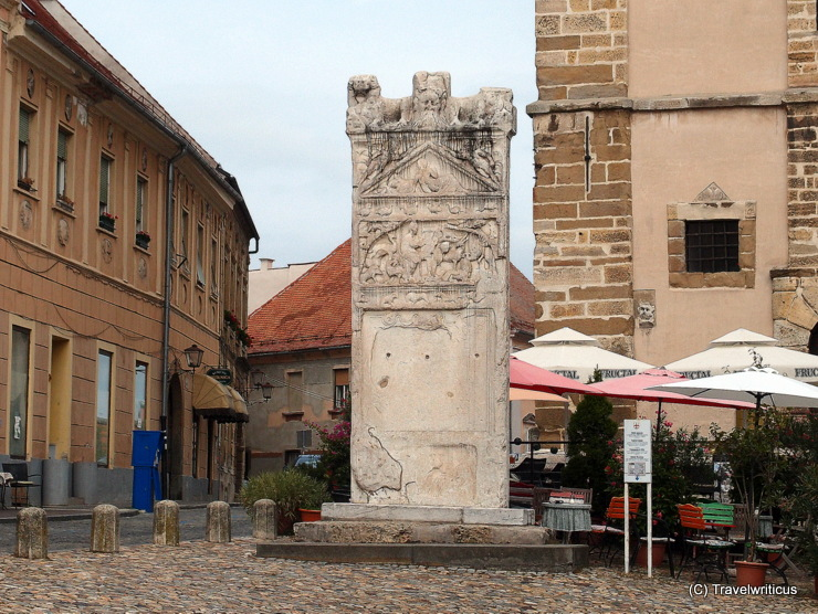 Roman tombstone dating back to 2nd century located in the centre of Ptuj, Slovenia