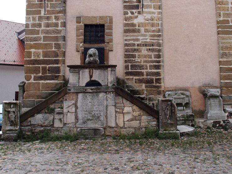 The Povoden Museum, a lapidarium at the city tower of Ptuj, Slovenia