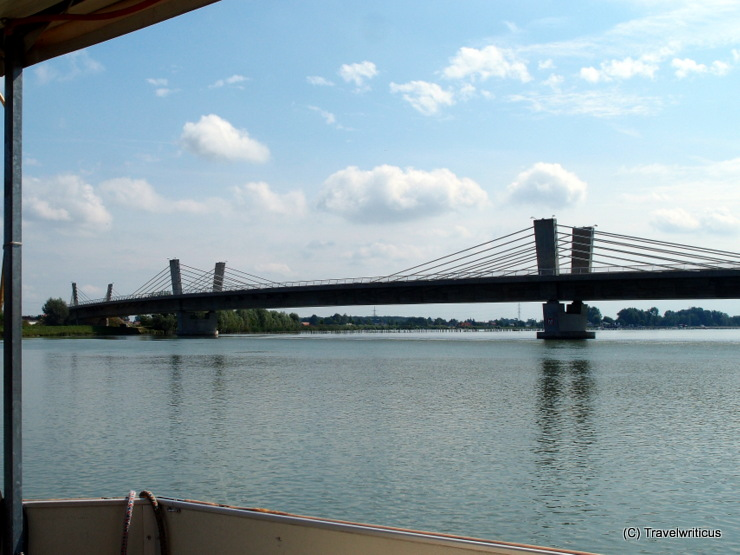 Puhov most, an extradost bridge in Ptuj, Slovenia