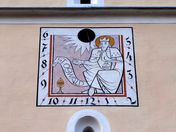 Sundial at St Oswald church in Puch bei Weiz, Austria