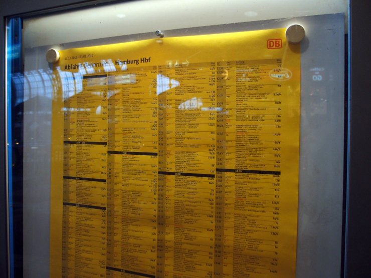 Time table at Hamburg central station