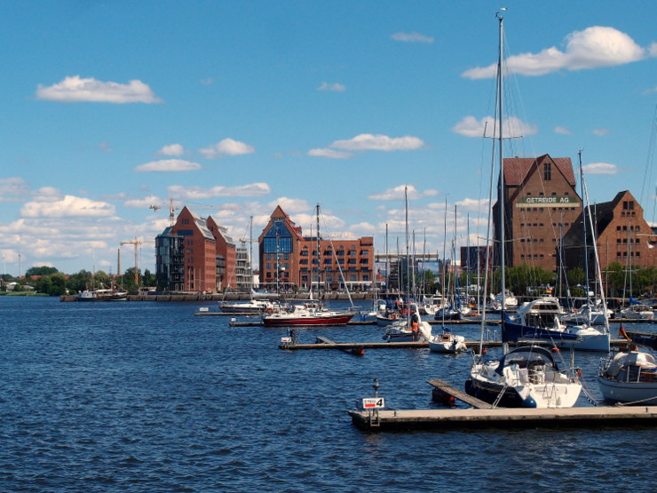Warehouses at the city harbour of Rostock, Germany