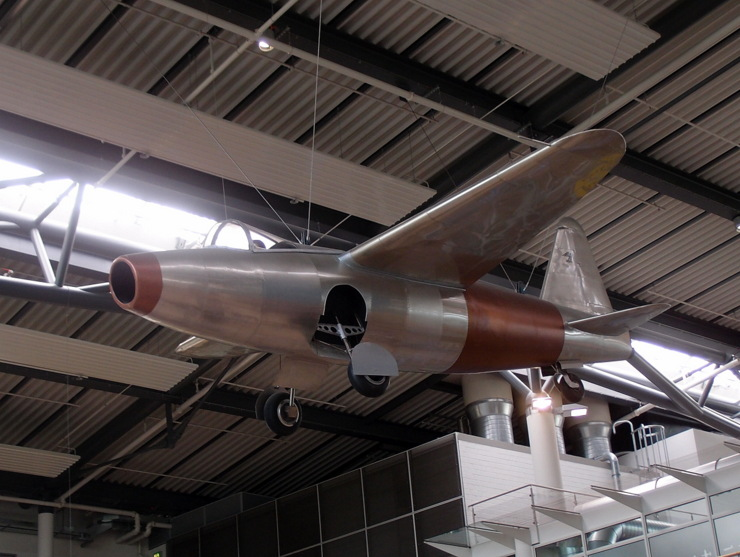 Replica of a Heinkel HE 178 at airport Rostock-Laage