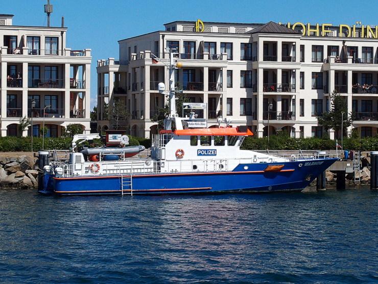Police boat FPB 25 in Rostock, Germany