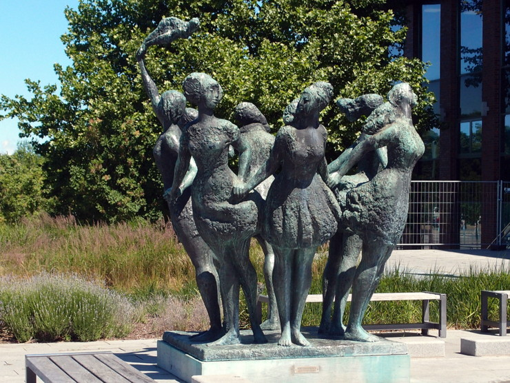 'Seven proud sisters kissed by one sea' in Rostock, Germany