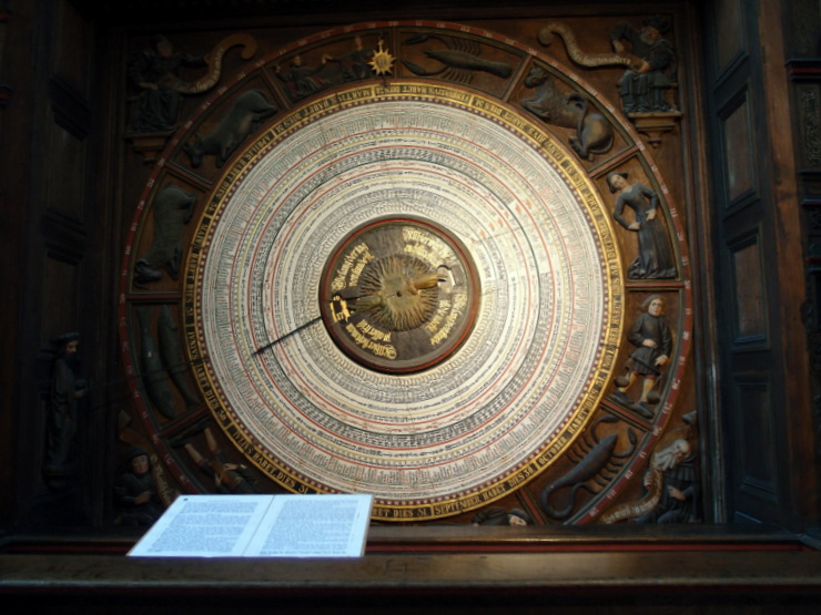 Calendar of the astronomical clock at St Mary's Church in Rostock, Germany
