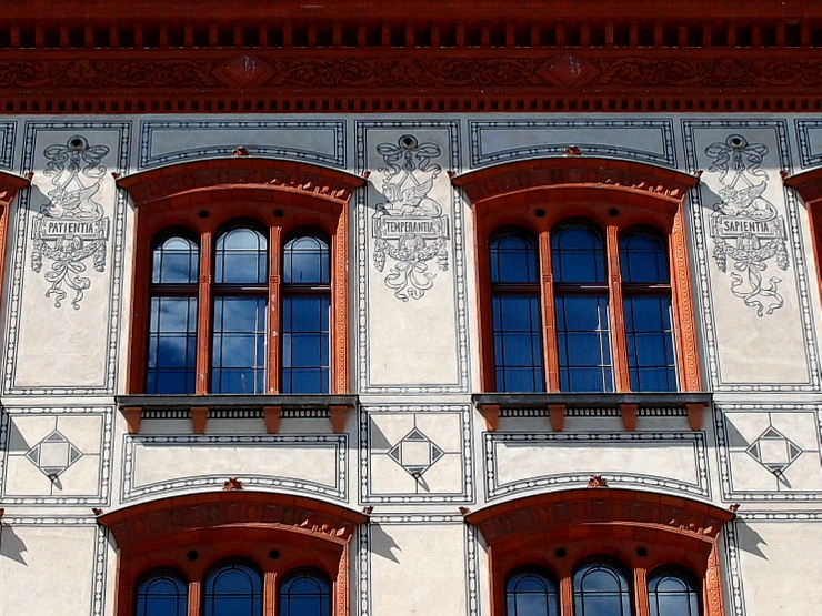 Wall decoration at the main building of the Rostock University