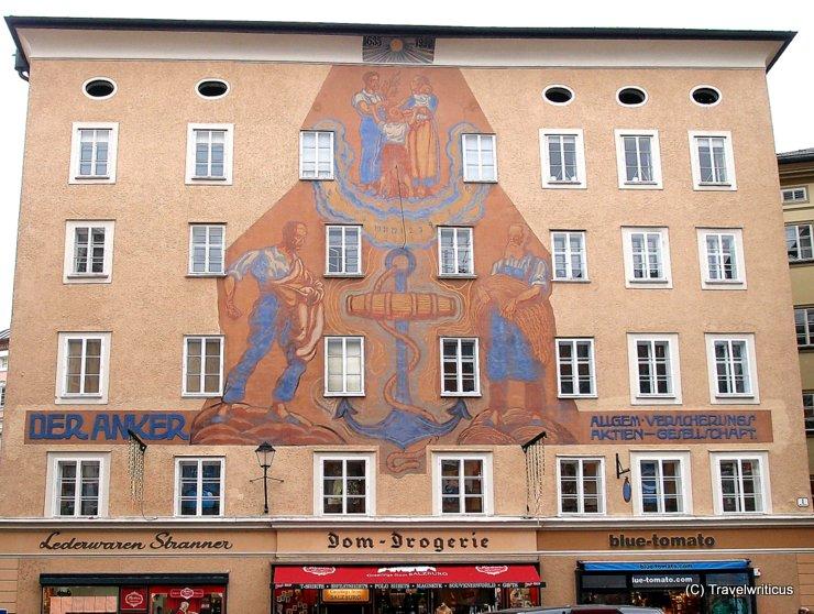 Huge sundial at Ankerhaus in Salzburg, Austria