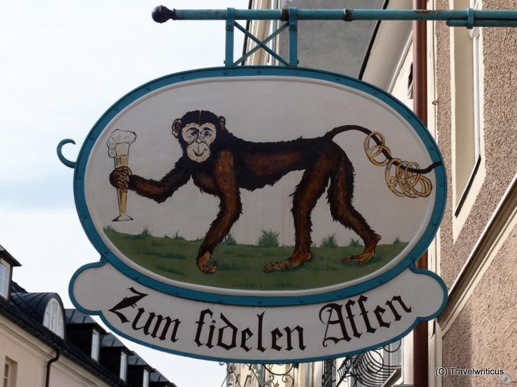 Inn sign 'Zum fidelen Affen' in Salzburg, Austria