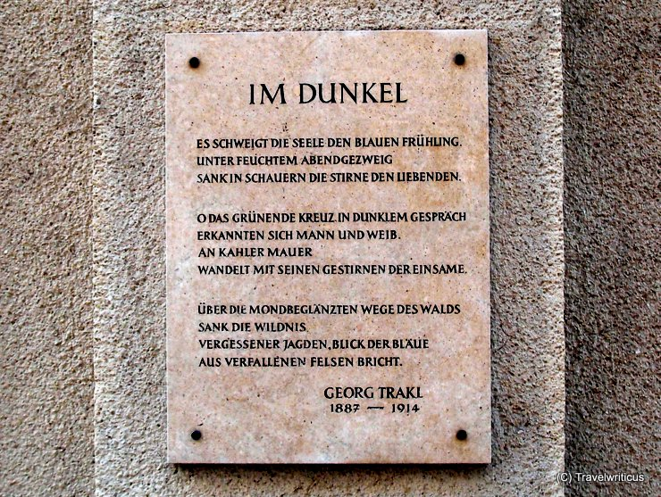 Plaque with a poem by Georg Trakl