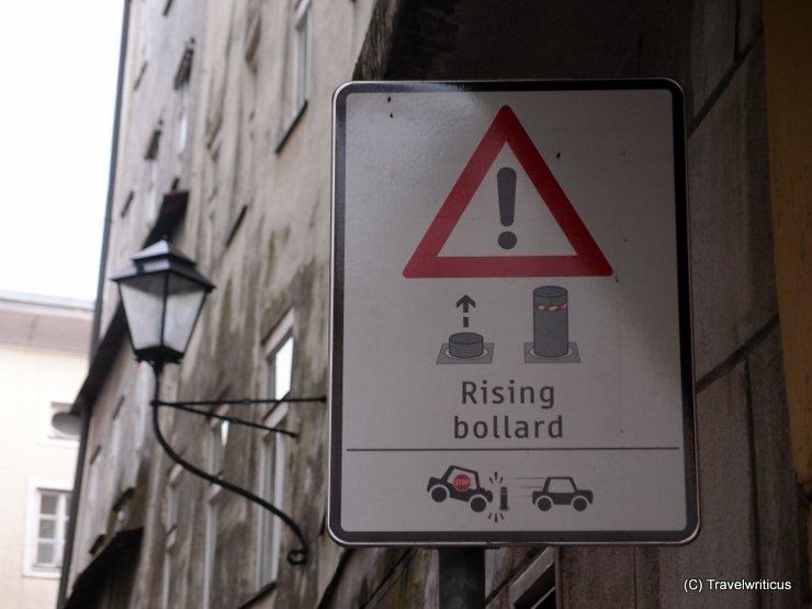Rising bollard system in Salzburg City, Austria