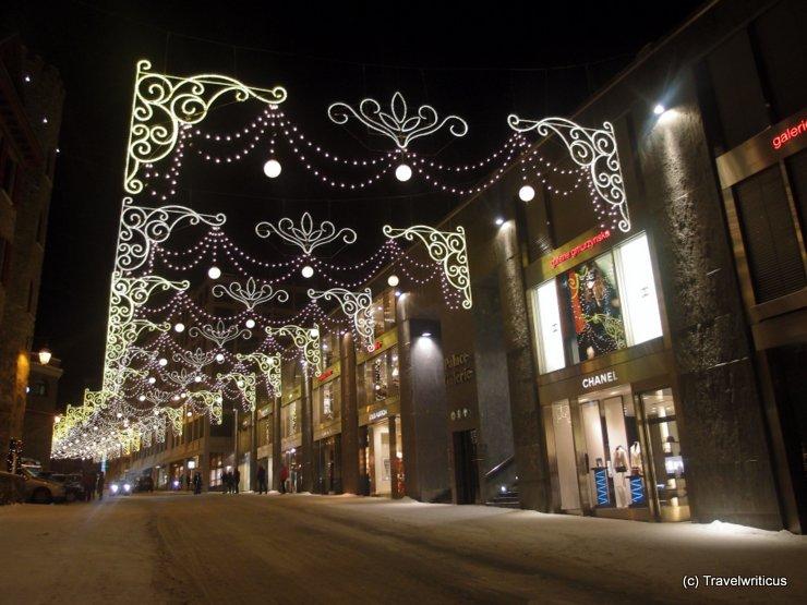 Shopping street in St. Moritz, Switzerland