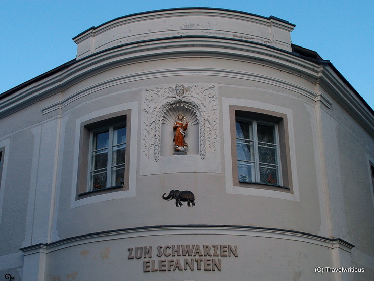 Inn sign of the Black Elephant inn in Scheibbs, Austria