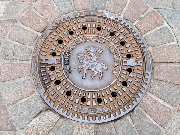 Manhole cover in Schwerin, Germany