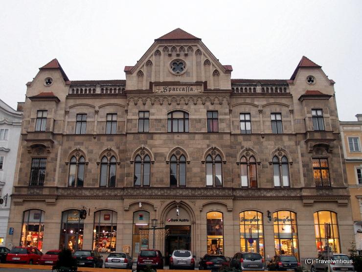 Neo-Gothic bank building (1900) in Steyr, Austria