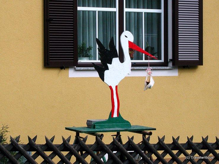 Stork indicating a newborn in Austria