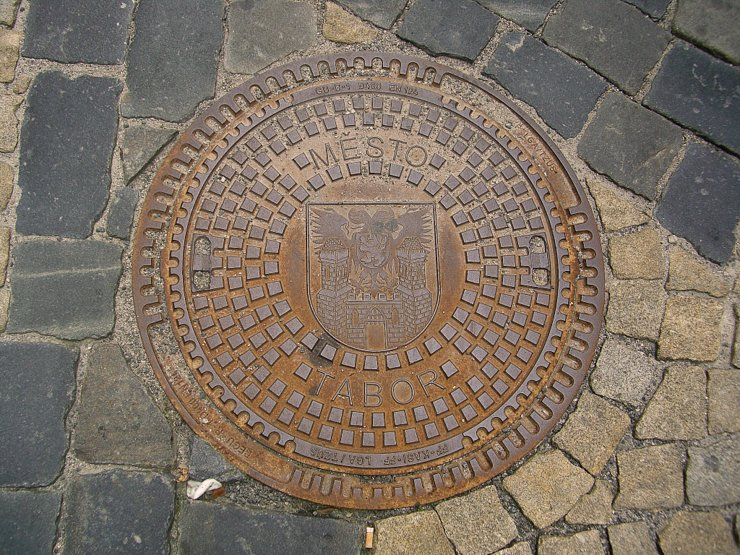 Manhole cover in Tabor, Czech Republic