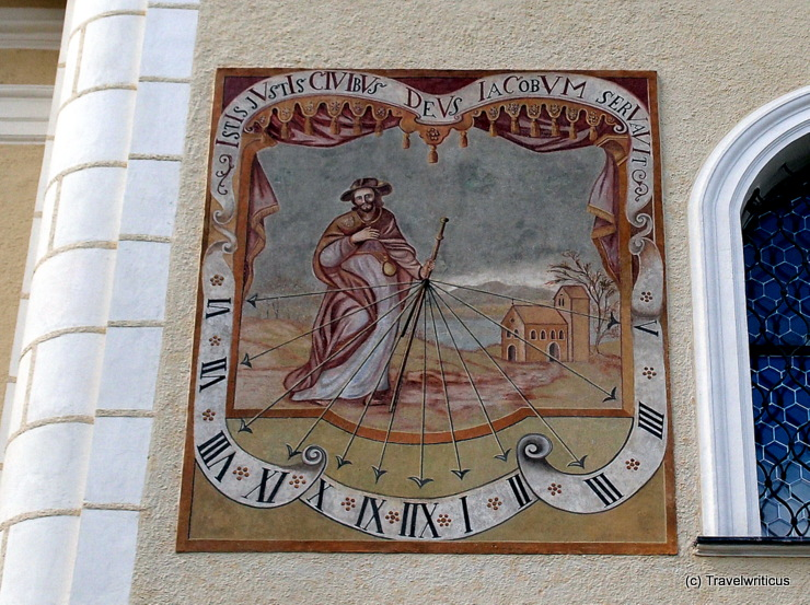 Sundial on the parish church in Tamsweg, Austria