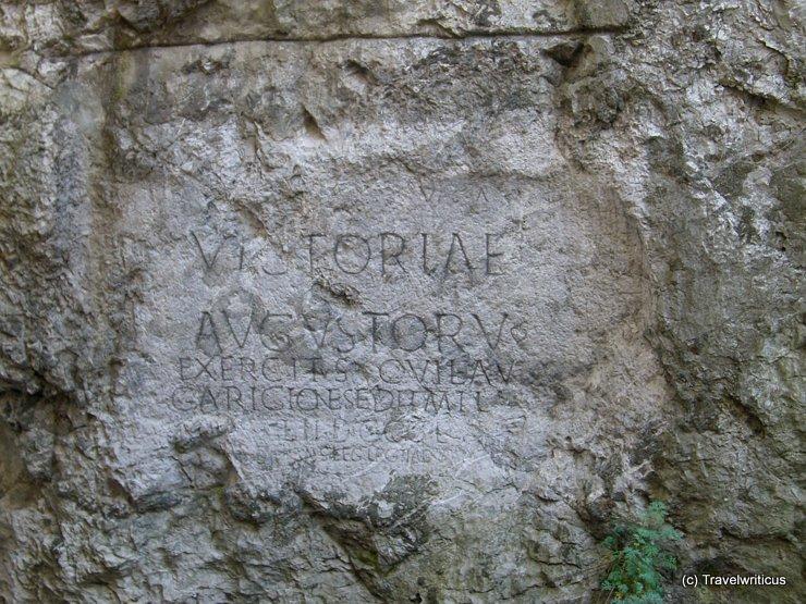 Roman inscription mentioning Laugaricio in Trenčín, Slovakia