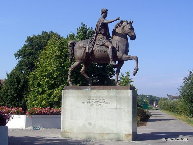 Equestrian statue of Roman emperor Marc Aurel in Tulln, Austria