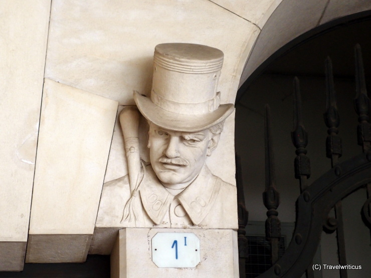 Fun head with hat in Udine, Italy