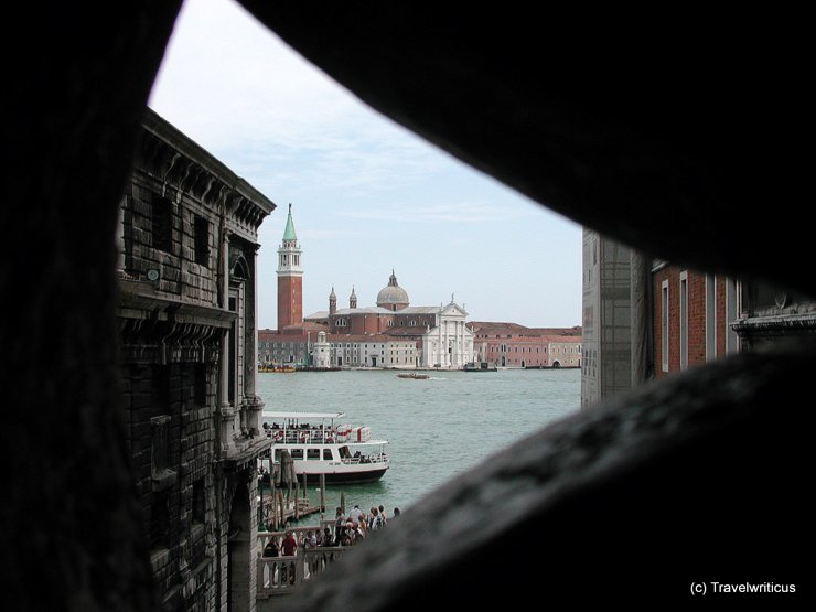 View from inside the Bridge of Sighs in Venice, Italy