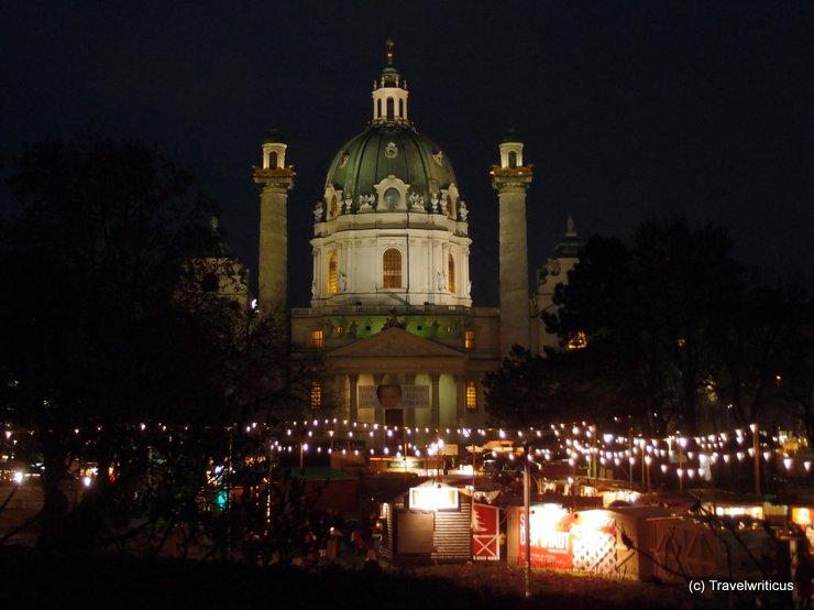 Christmas market at Karlskirche in Vienna, Austria