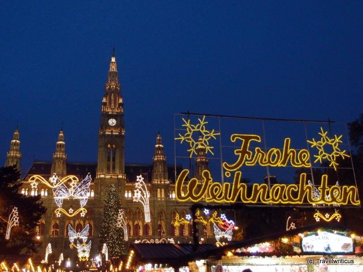 Christmas market at the city hall of Vienna, Austria
