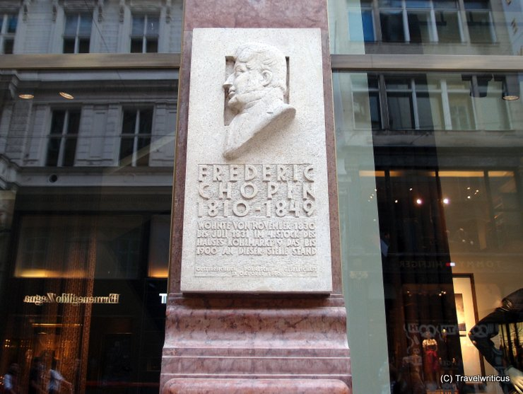Commemorative plaque for Frédéric Chopin at Kohlmarkt in Vienna