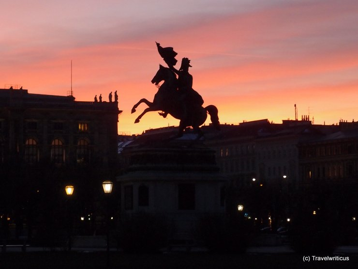Sunset silhouette of a lonesome rider in Vienna