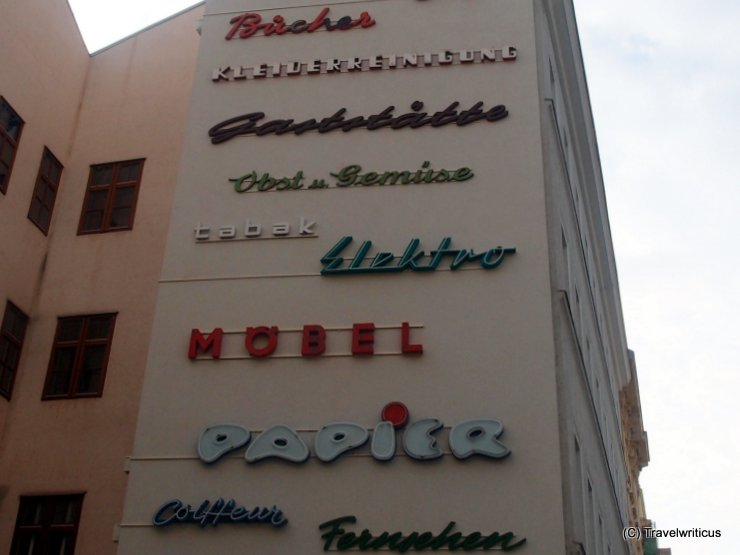 Exhibition of historic facade signs in Vienna, Austria