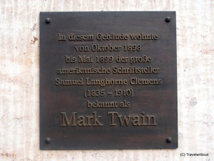 Memorial plaque for Mark Twain in Vienna, Austria