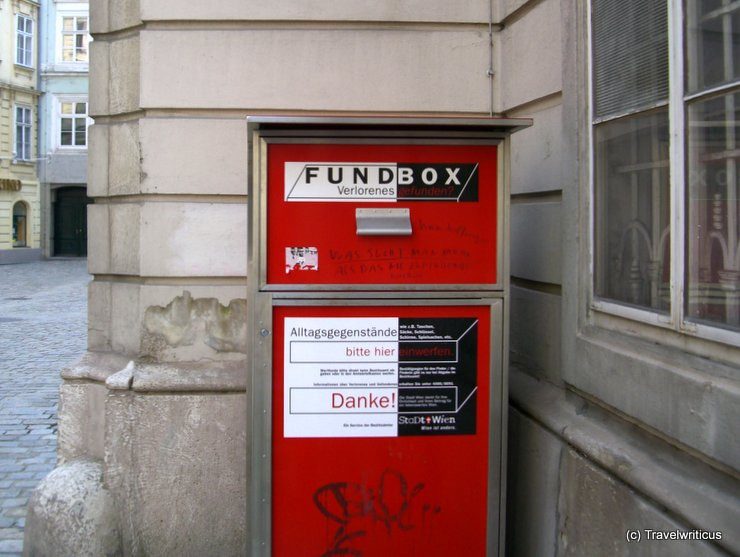 Red box for finds in Vienna, Austria