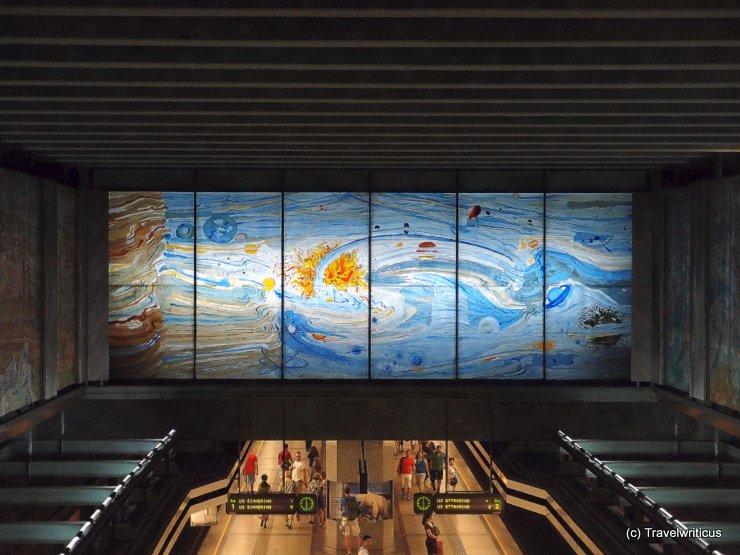 Mural at subway station Volkstheater in Vienna, Austria