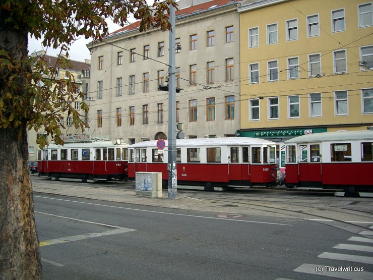 Three trams in a tram-train in Vienna, Austria
