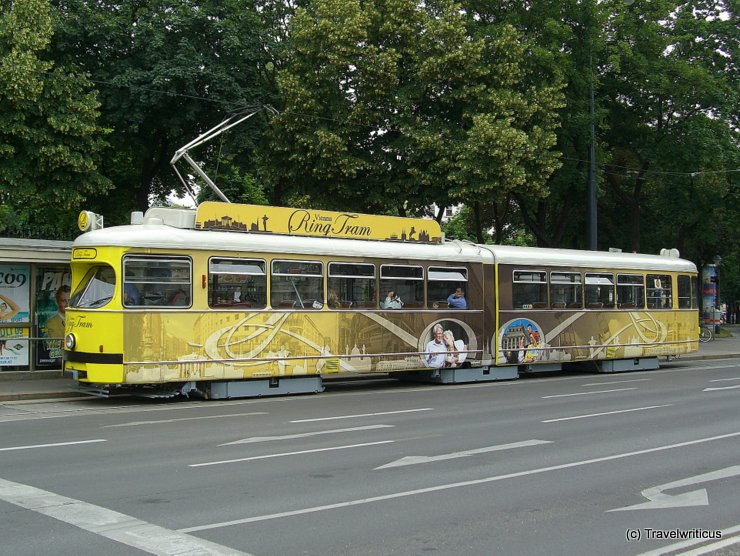 Yellow ring tramway in Vienna, Austria