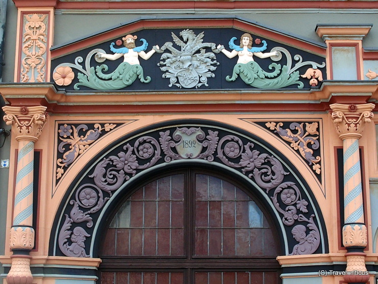 Detail of the Cranach House (Cranachhaus) in Weimar, Germany