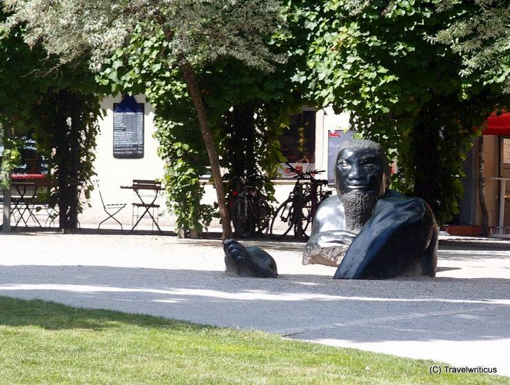 Sculpture 'Sunken Giant' at the Frauenplan in Weimar, Germany