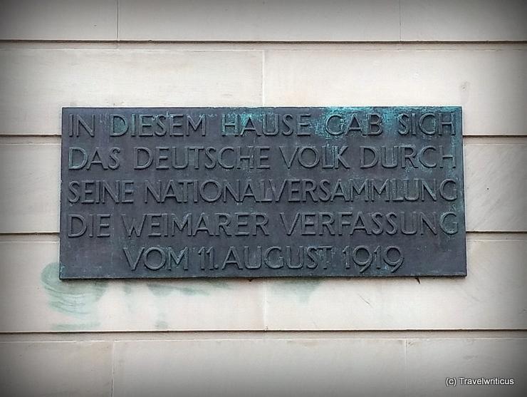 Memorial plaque by Walter Gropius for the Weimar Constitution of 1919