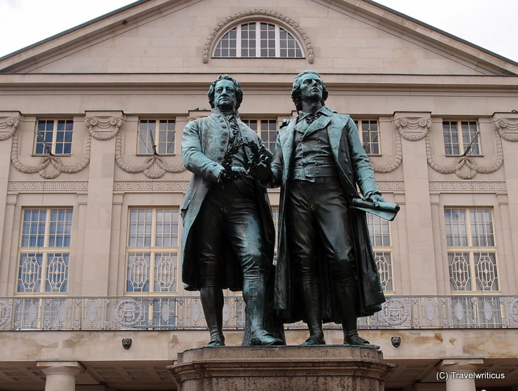 Monument to Goethe and Schiller in Weimar, Germany