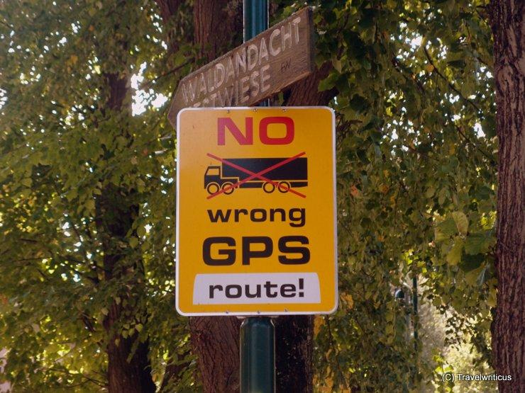 Interesting GPS sign in Weissenbach, Austria