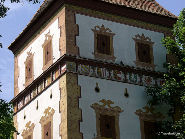 Emblems at the water tower of Wels, Austria