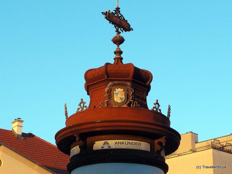Old advertising column in Wiener Neustadt, Austria