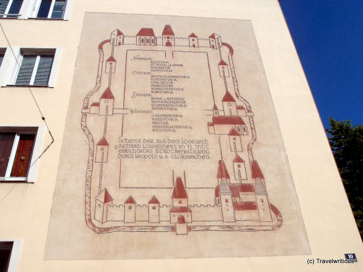 Mural depicting the town wall