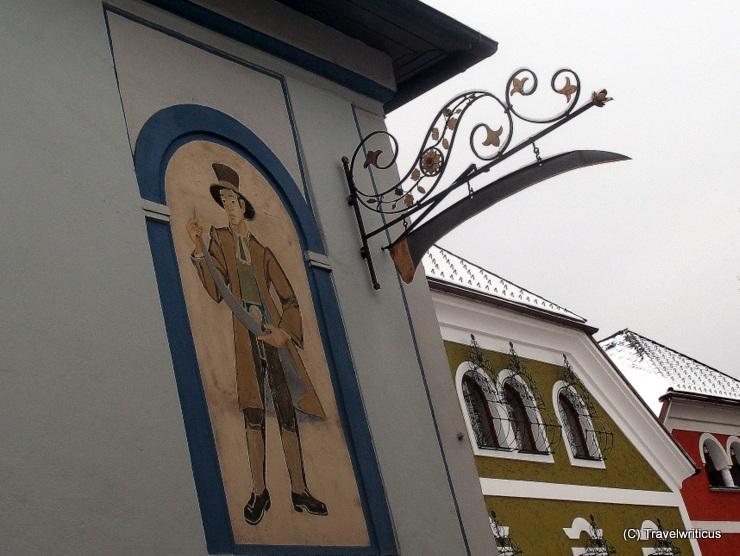 Sign of the Blue Skythe inn in Windischgarsten, Austria